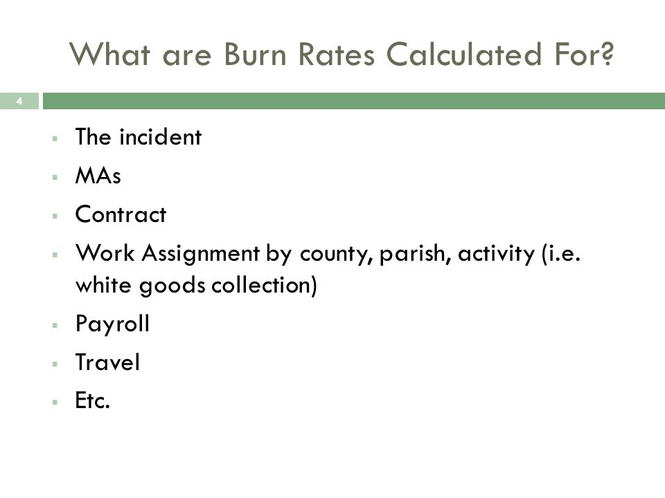 What are Burn Rates Calculated For.