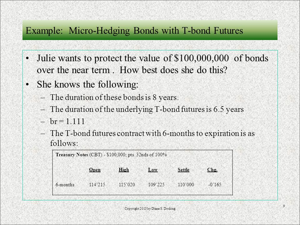 9 Example: Micro-Hedging Bonds with T-bond Futures Julie wants to protect the value of $100,000,000 of bonds over the near term.