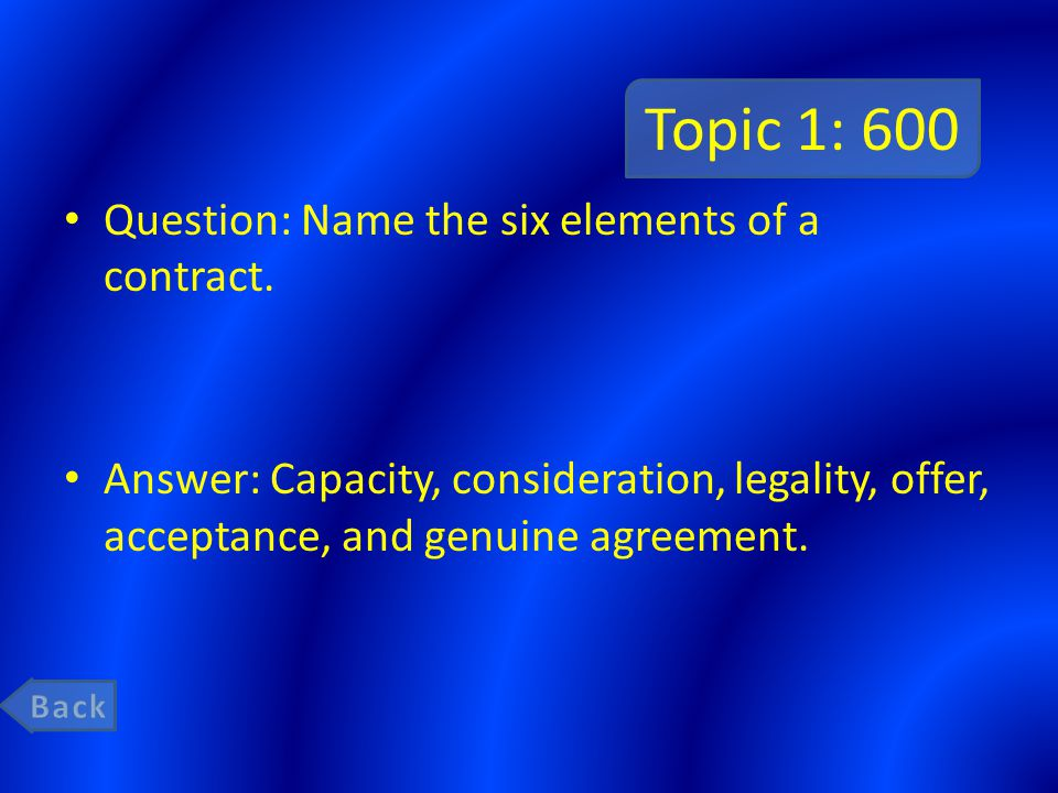 Topic 1: 800 Question: Who are excused from contractual responsibility .