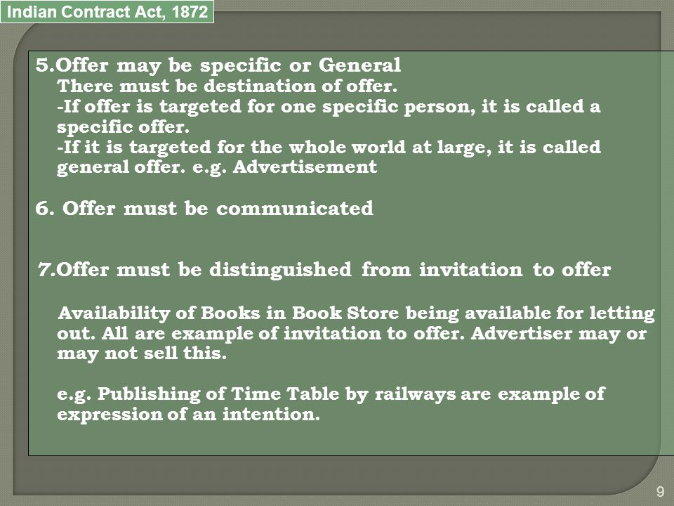 Indian Contract Act, 1872 10 The Acceptance Sec.