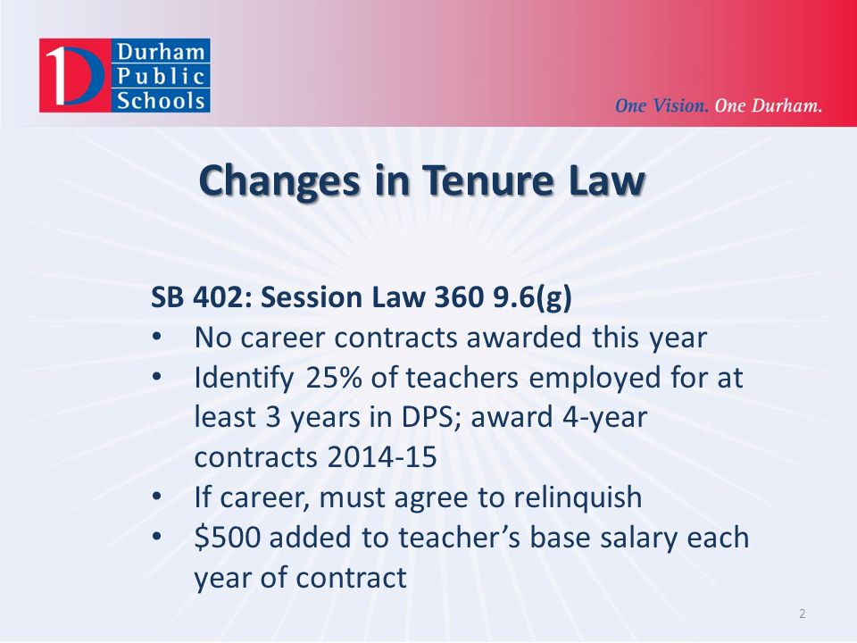 2 Changes in Tenure Law SB 402: Session Law 360 9.6(g) No career contracts awarded this year Identify 25% of teachers employed for at least 3 years in DPS; award 4-year contracts 2014-15 If career, must agree to relinquish $500 added to teachers base salary each year of contract