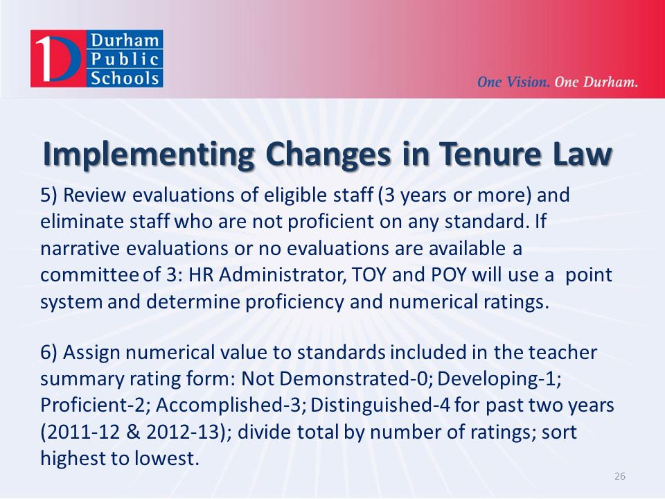 Implementing Changes in Tenure Law 5) Review evaluations of eligible staff (3 years or more) and eliminate staff who are not proficient on any standard.