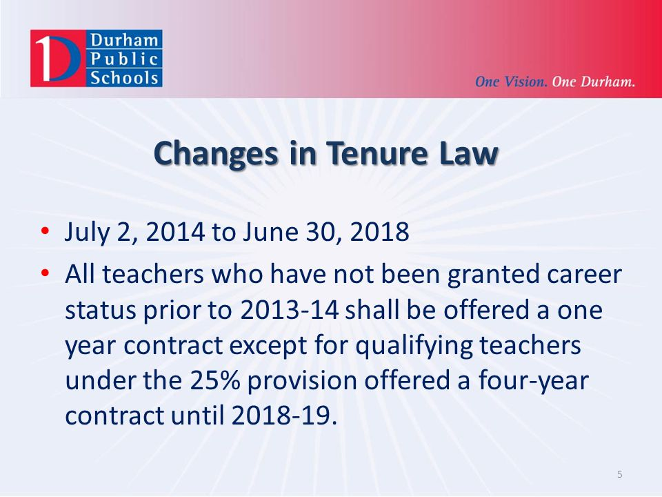 Changes in Tenure Law July 2, 2014 to June 30, 2018 All teachers who have not been granted career status prior to 2013-14 shall be offered a one year contract except for qualifying teachers under the 25% provision offered a four-year contract until 2018-19.