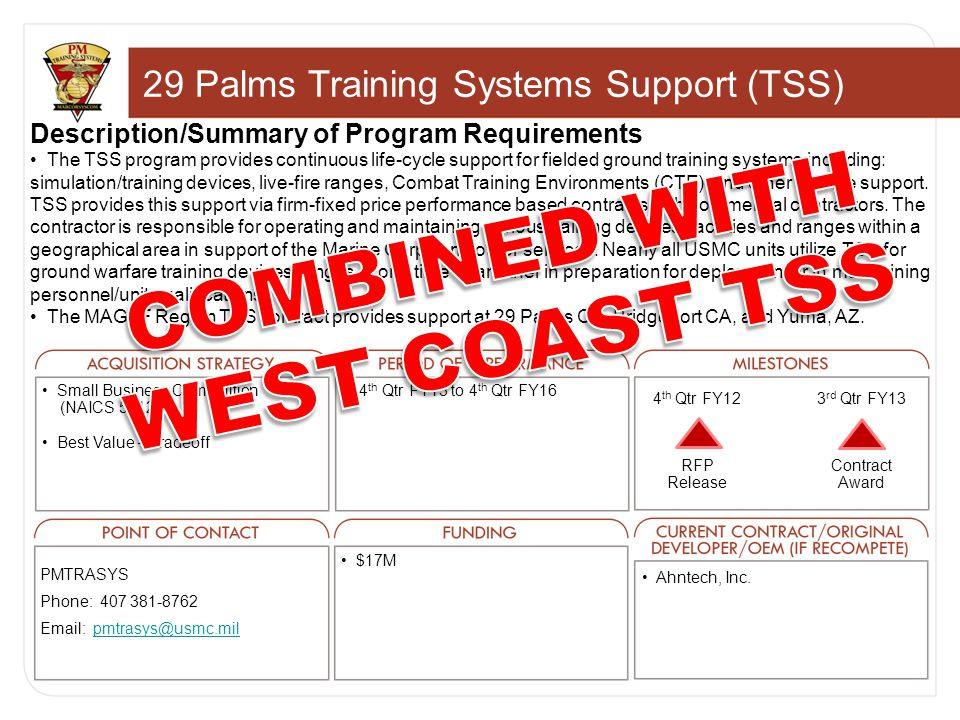 29 Palms Training Systems Support (TSS) Description/Summary of Program Requirements The TSS program provides continuous life-cycle support for fielded ground training systems including: simulation/training devices, live-fire ranges, Combat Training Environments (CTE) and other service support.