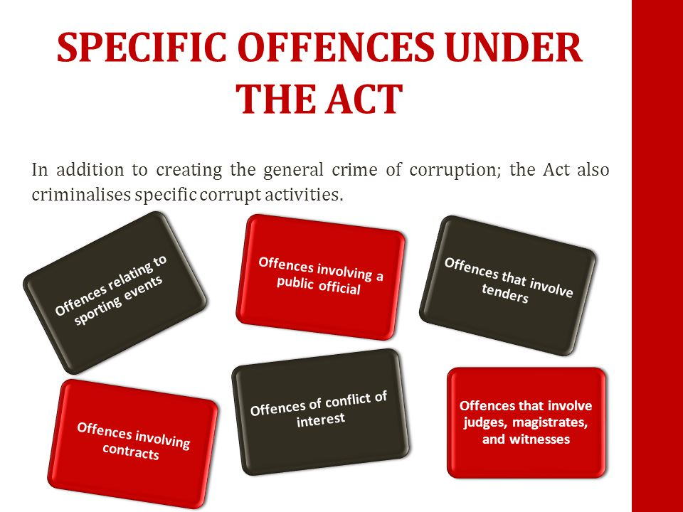 OFFENCES INVOLVING CONTRACTS It is a crime for anyone to accept money or favours to influence who gets a contract.