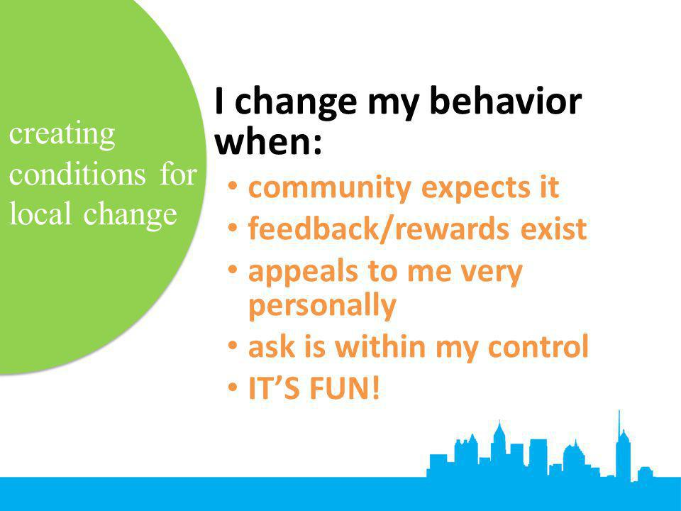 creating conditions for local change I change my behavior when: community expects it feedback/rewards exist appeals to me very personally ask is withi