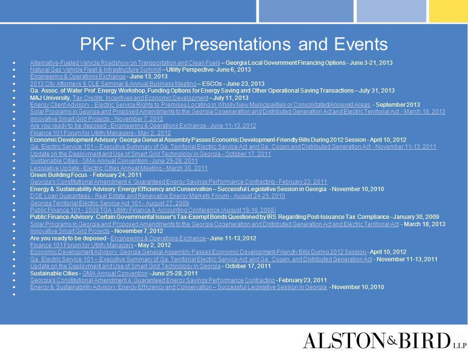 PKF - Other Presentations and Events Alternative-Fueled Vehicle Roadshow on Transportation and Clean Fuels – Georgia Local Government Financing Option
