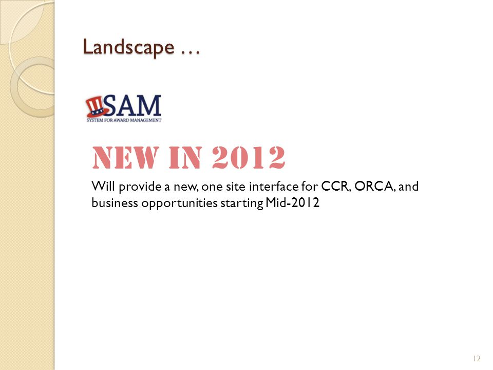 Landscape … 12 New in 2012 Will provide a new, one site interface for CCR, ORCA, and business opportunities starting Mid-2012