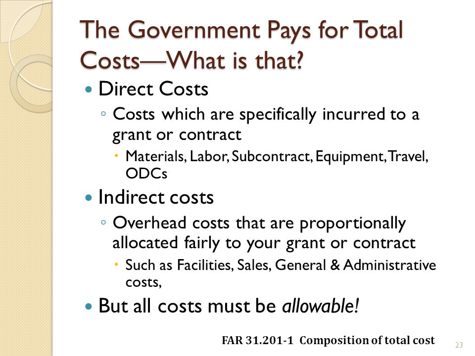 The Government Pays for Total CostsWhat is that.
