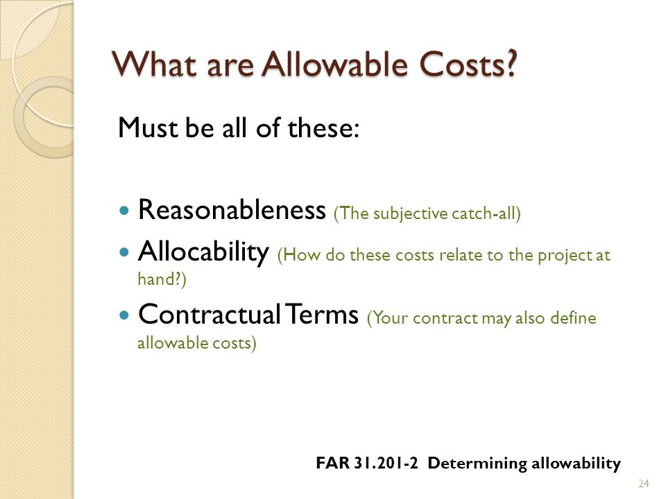 What are Allowable Costs .