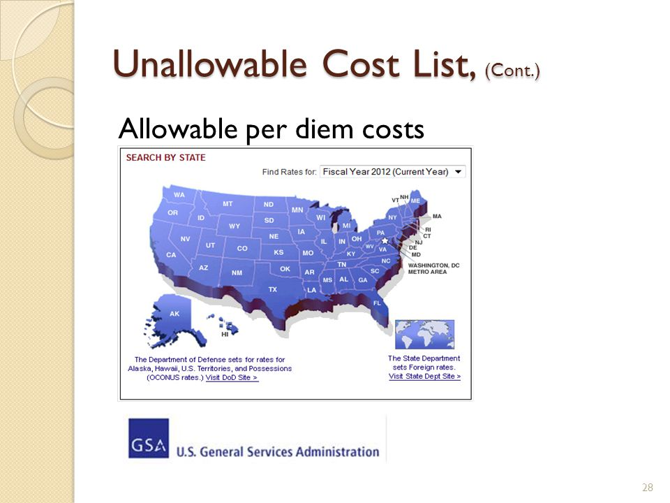 Unallowable Cost List, (Cont.) 28 Allowable per diem costs