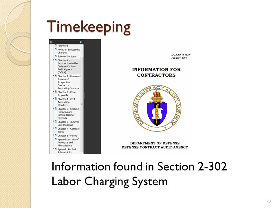 Timekeeping 32 Information found in Section 2-302 Labor Charging System