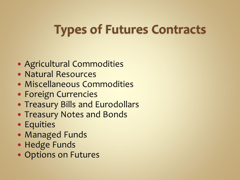 Agricultural Commodities Natural Resources Miscellaneous Commodities Foreign Currencies Treasury Bills and Eurodollars Treasury Notes and Bonds Equities Managed Funds Hedge Funds Options on Futures