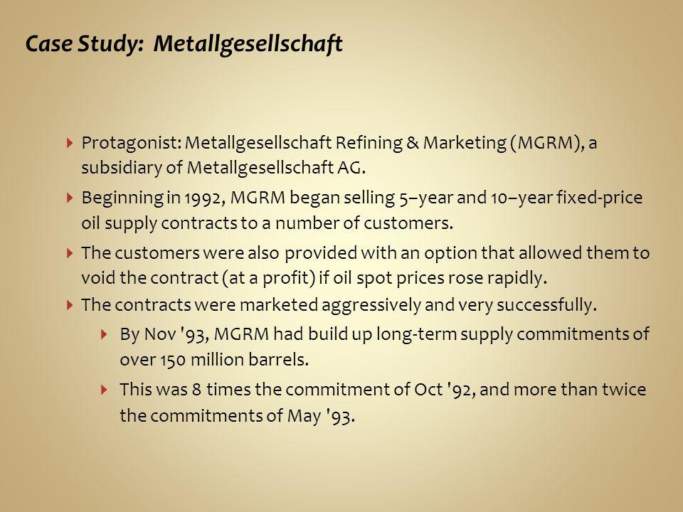 Case Study: Metallgesellschaft Protagonist: Metallgesellschaft Refining & Marketing (MGRM), a subsidiary of Metallgesellschaft AG.