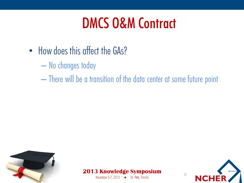 DMCS O&M Contract How does this affect the GAs.