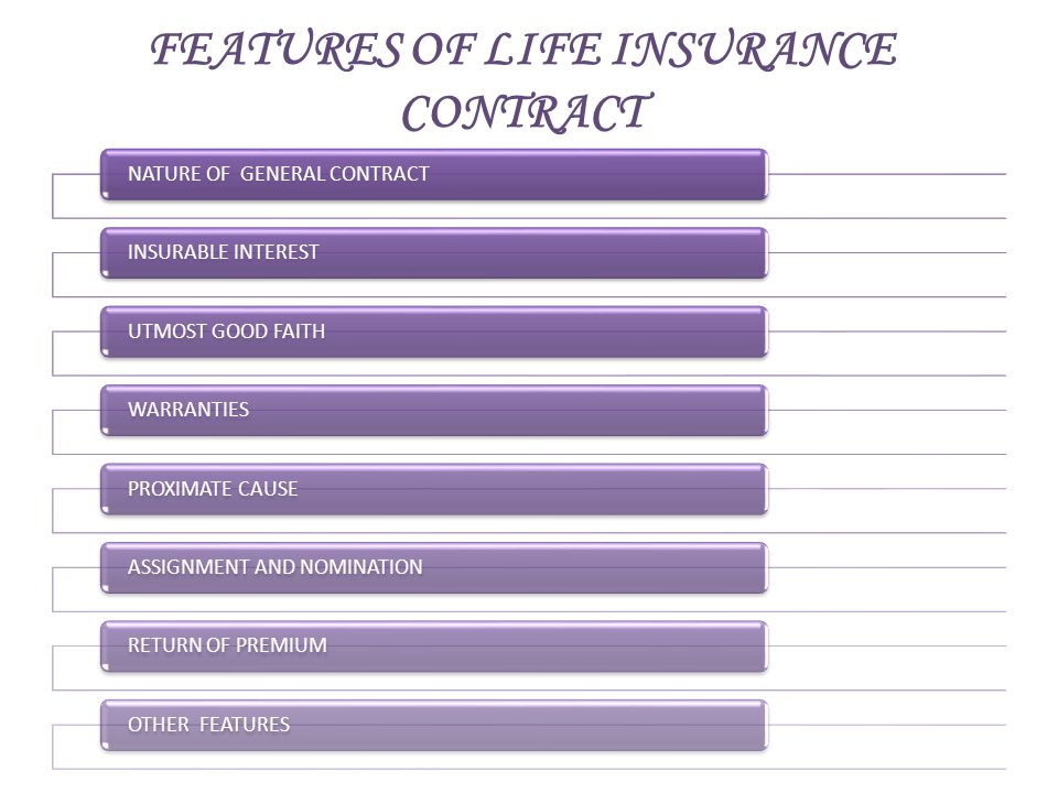 FEATURES OF LIFE INSURANCE CONTRACT NATURE OF GENERAL CONTRACTINSURABLE INTERESTUTMOST GOOD FAITHWARRANTIESPROXIMATE CAUSEASSIGNMENT AND NOMINATIONRET