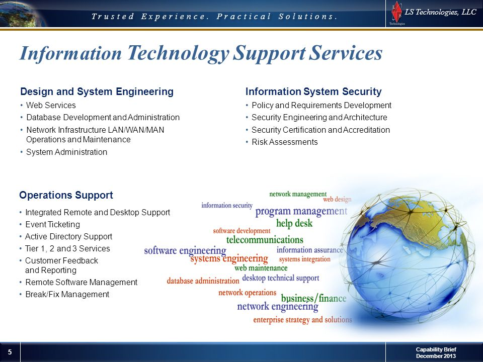 LS Technologies, LLC 5 © 2012 LS Technologies, LLC Confidential and Proprietary Trusted Experience. Practical Solutions. Operations Support Integrated