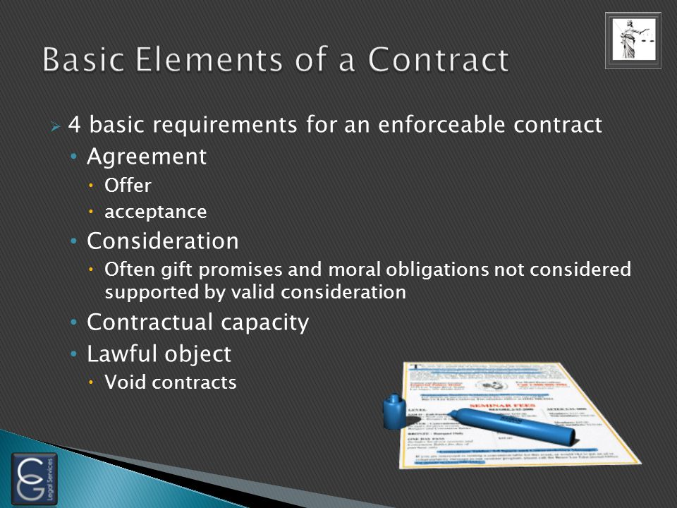 4 basic requirements for an enforceable contract Agreement Offer acceptance Consideration Often gift promises and moral obligations not considered supported by valid consideration Contractual capacity Lawful object Void contracts