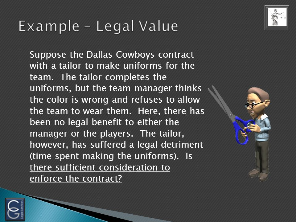 Suppose the Dallas Cowboys contract with a tailor to make uniforms for the team.