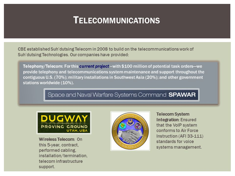 T ELECOMMUNICATIONS CBE established Suhdutsing Telecom in 2008 to build on the telecommunications work of Suhdutsing Technologies. Our companies have