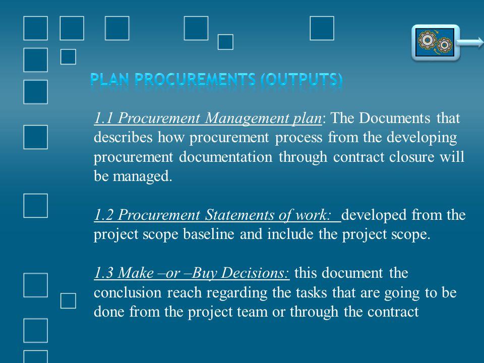 1.1 Procurement Management plan: The Documents that describes how procurement process from the developing procurement documentation through contract c