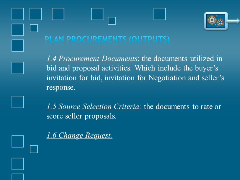 1.4 Procurement Documents: the documents utilized in bid and proposal activities. Which include the buyers invitation for bid, invitation for Negotiat