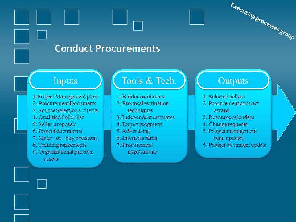 Conduct Procurements Executing processes group Inputs Tools & Tech. Outputs 1.Project Management plan 2. Procurement Documents 3. Source Selection Cri
