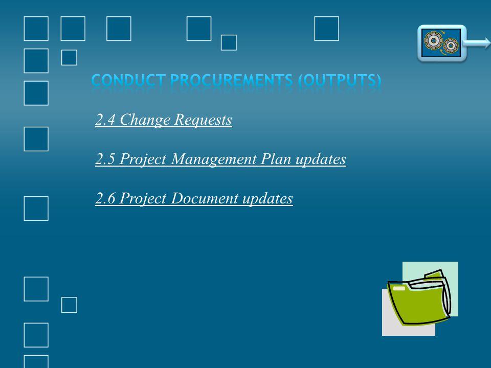 2.4 Change Requests 2.5 Project Management Plan updates 2.6 Project Document updates
