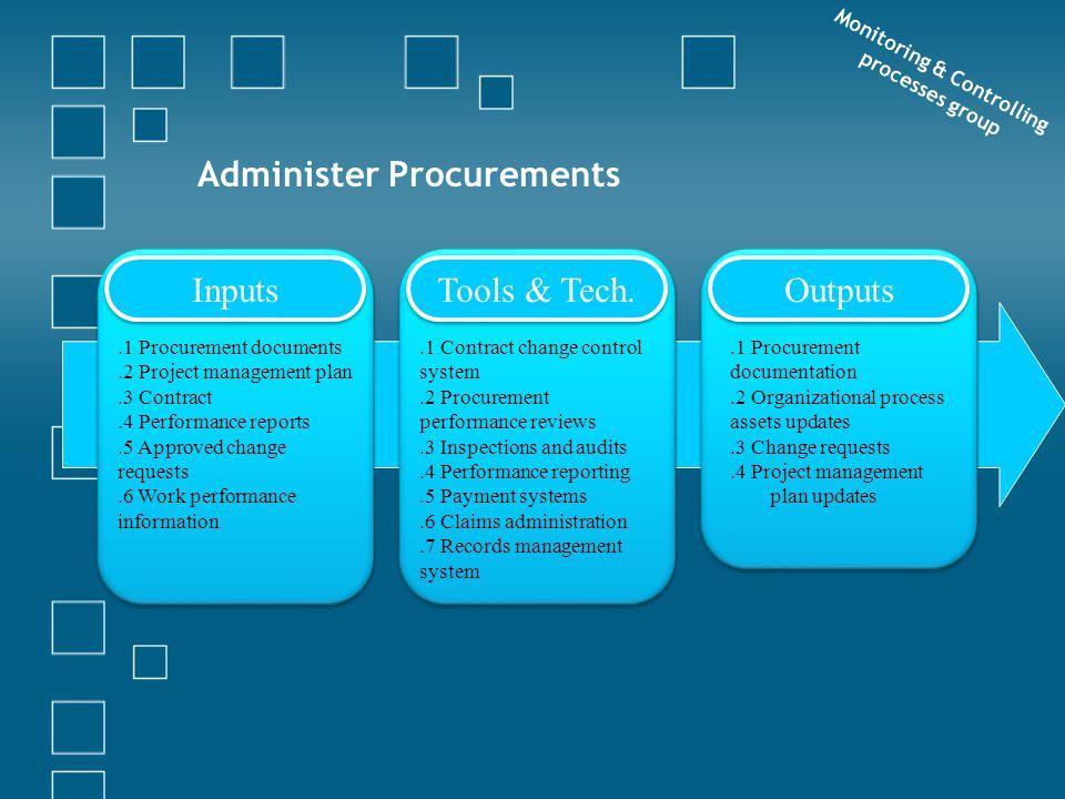 Administer Procurements Monitoring & Controlling processes group Inputs Tools & Tech. Outputs.1 Procurement documents.2 Project management plan.3 Cont