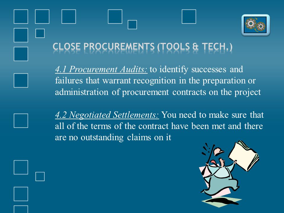 4.1 Procurement Audits: to identify successes and failures that warrant recognition in the preparation or administration of procurement contracts on t