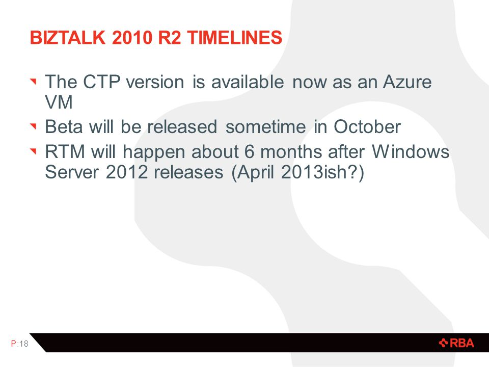 BIZTALK 2010 R2 TIMELINES The CTP version is available now as an Azure VM Beta will be released sometime in October RTM will happen about 6 months aft