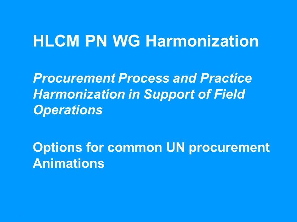 1HLCM PN WG Harmonization – Options for Cooperation in Procurement – Processes HLCM PN WG Harmonization Procurement Process and Practice Harmonization