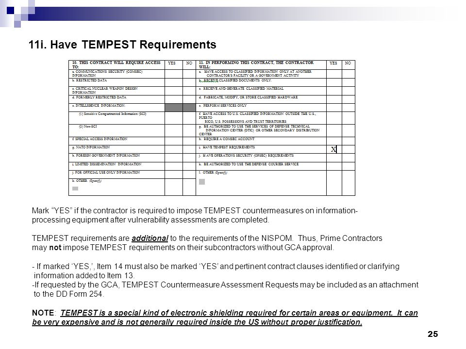 11i. Have TEMPEST Requirements Mark YES if the contractor is required to impose TEMPEST countermeasures on information- processing equipment after vul