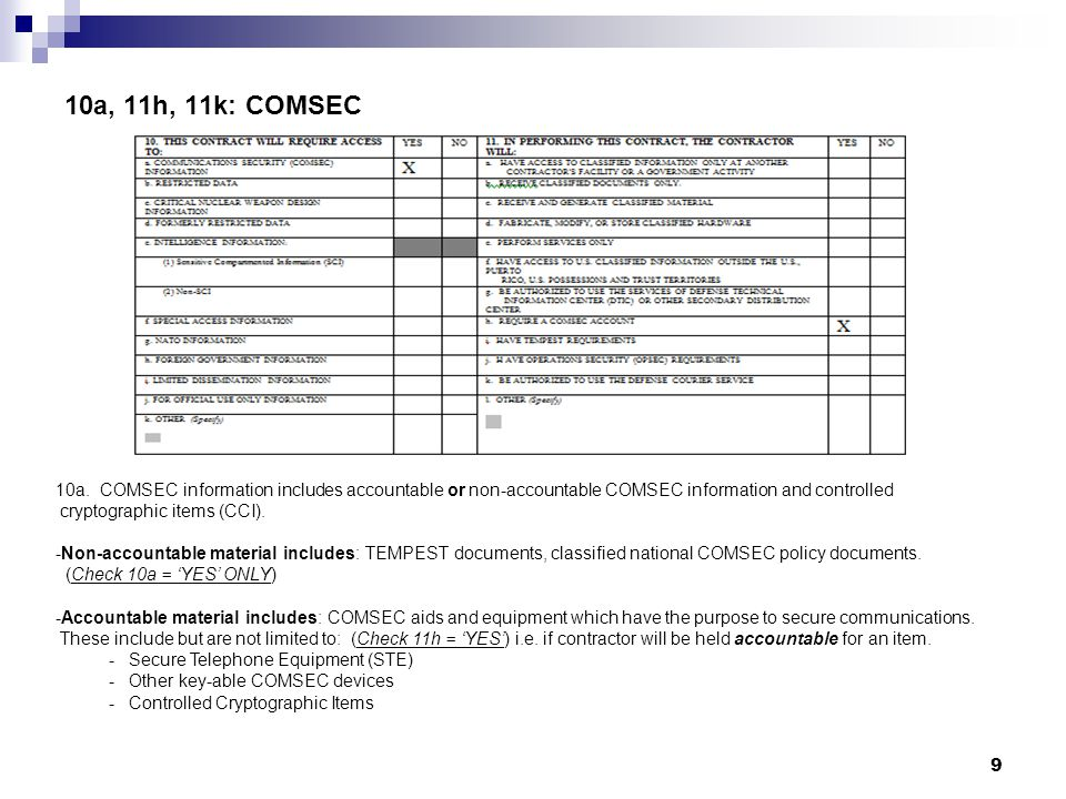 10a. COMSEC information includes accountable or non-accountable COMSEC information and controlled cryptographic items (CCI). -Non-accountable material