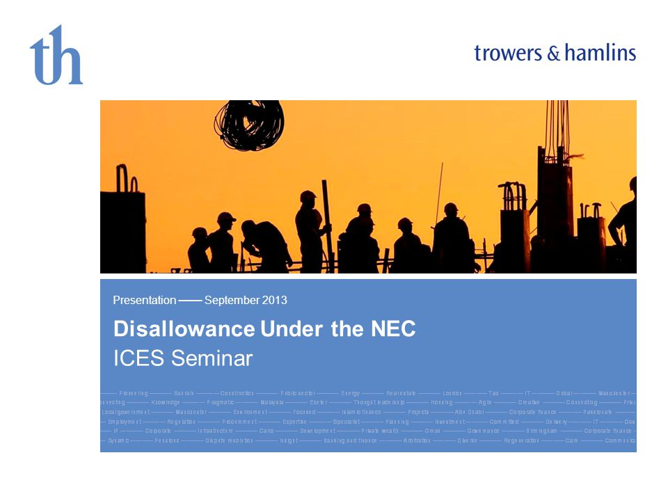 Click to edit Master title style Disallowance Under the NEC ICES Seminar Presentation September 2013