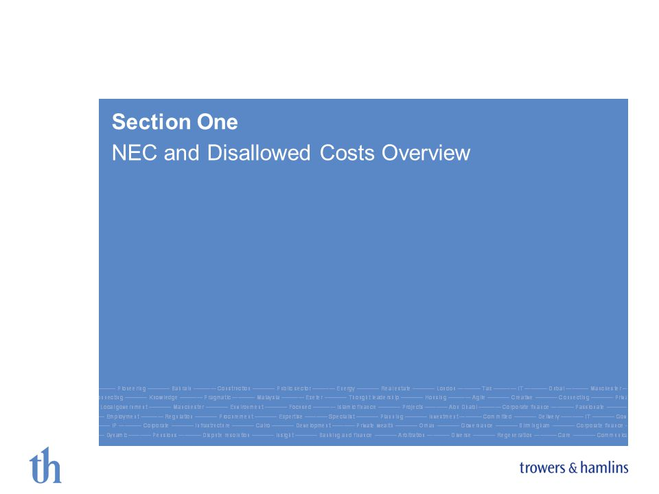 Section One NEC and Disallowed Costs Overview