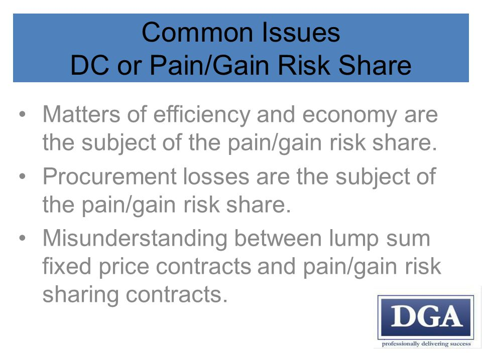 Common Issues DC or Pain/Gain Risk Share Matters of efficiency and economy are the subject of the pain/gain risk share.