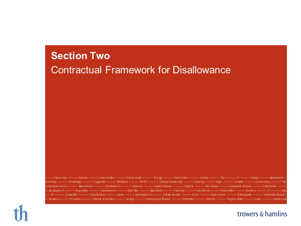 Section Two Contractual Framework for Disallowance