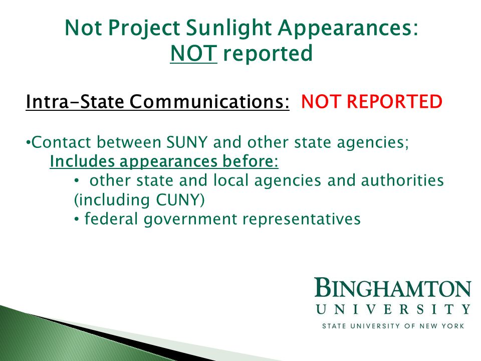Intra-State Communications: NOT REPORTED Contact between SUNY and other state agencies; Includes appearances before: other state and local agencies an