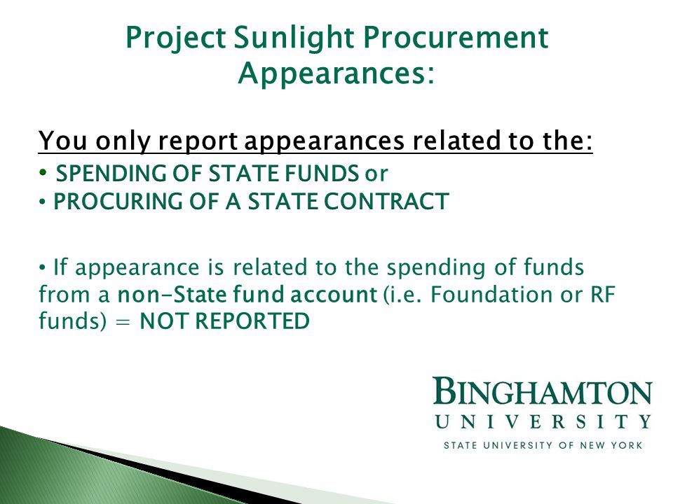 Project Sunlight Procurement Appearances: