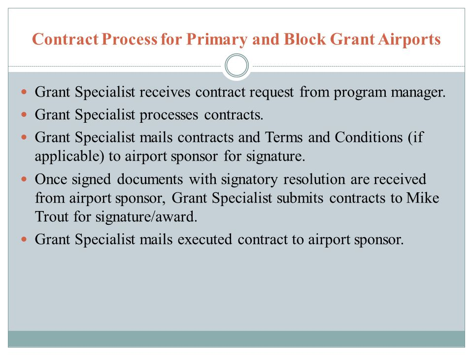 Contract Process for Primary and Block Grant Airports Grant Specialist receives contract request from program manager.