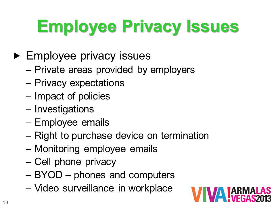 Employee Privacy Issues Employee privacy issues –Private areas provided by employers –Privacy expectations –Impact of policies –Investigations –Employee emails –Right to purchase device on termination –Monitoring employee emails –Cell phone privacy –BYOD – phones and computers –Video surveillance in workplace 10