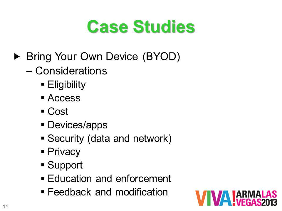 Case Studies Bring Your Own Device (BYOD) –Considerations Eligibility Access Cost Devices/apps Security (data and network) Privacy Support Education and enforcement Feedback and modification 14