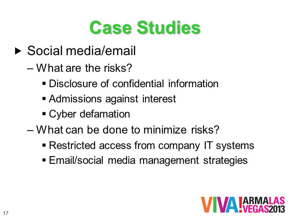 Case Studies Social media/ –What are the risks.