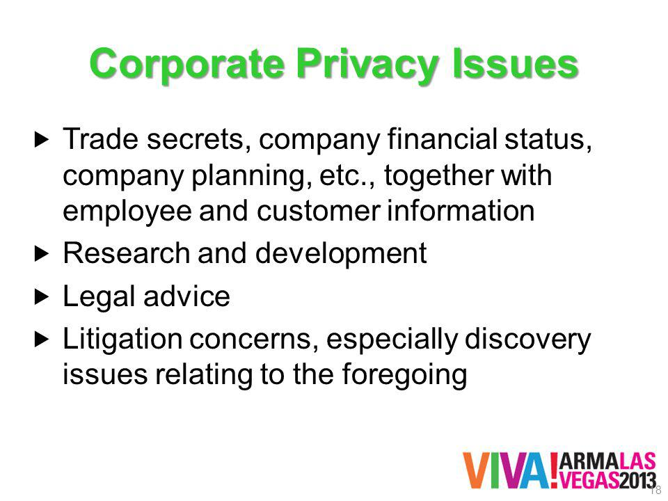 Corporate Privacy Issues Trade secrets, company financial status, company planning, etc., together with employee and customer information Research and