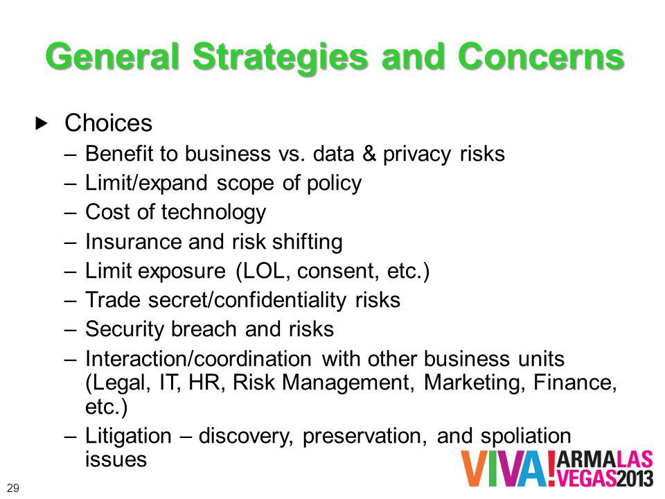 General Strategies and Concerns Choices –Benefit to business vs. data & privacy risks –Limit/expand scope of policy –Cost of technology –Insurance and