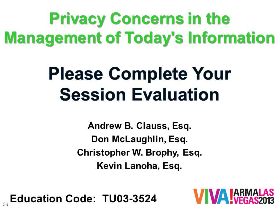 Privacy Concerns in the Management of Today s Information Education Code: TU03-3524 36 Andrew B.