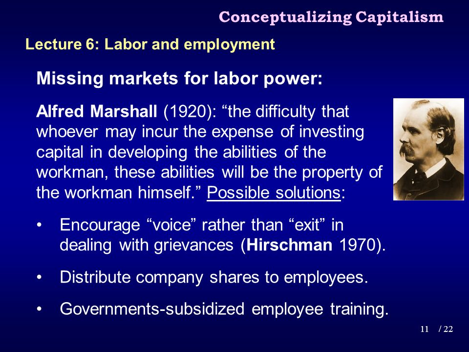 Missing markets for labor power: Alfred Marshall (1920): the difficulty that whoever may incur the expense of investing capital in developing the abilities of the workman, these abilities will be the property of the workman himself.