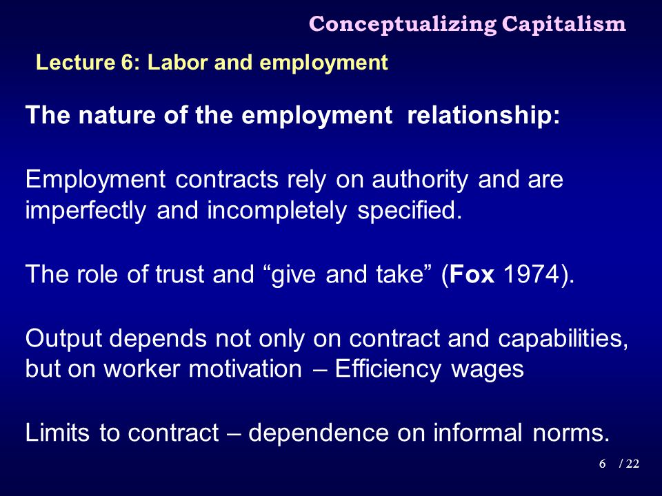 The nature of the employment relationship: Employment contracts rely on authority and are imperfectly and incompletely specified.