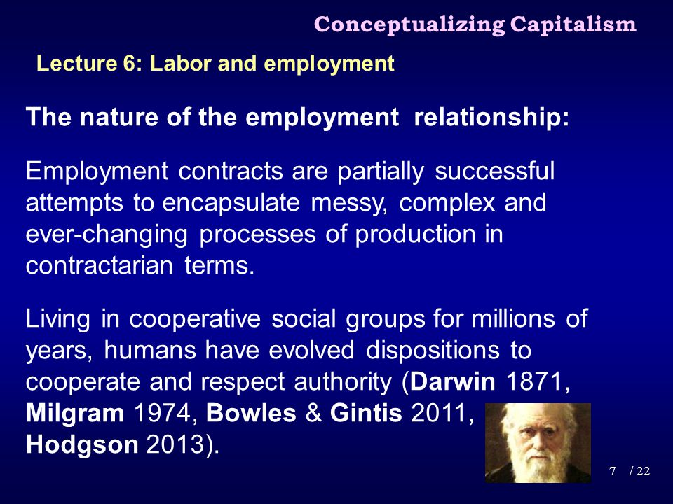 The nature of the employment relationship: Capitalism harnesses non-contractarian elements in the sphere of production, while giving fuller reign to property and contract in the spheres of financing, innovation, investment, marketing and distribution.